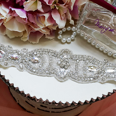 Satin Wedding / Party/ Evening Sash-Rhinestone Women's White 78 ¾in(200cm) Rhinestone