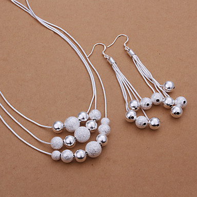 Women's Jewelry Set - Silver Plated Basic Include Drop Earrings / Necklace Silver For Party / Daily / Casual
