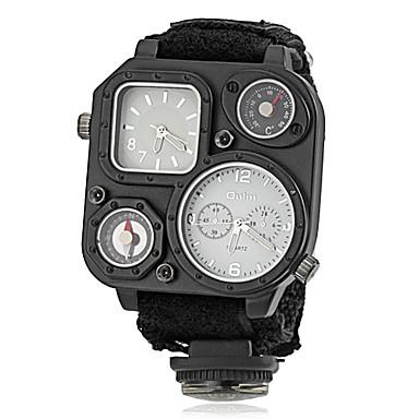 Pánské Vojenské hodinky Křemenný Japonské Quartz Compass Hodinky s dvojitým časem Materiál Kapela Luxusní Černá Zelená Bílá Černá Hnědá