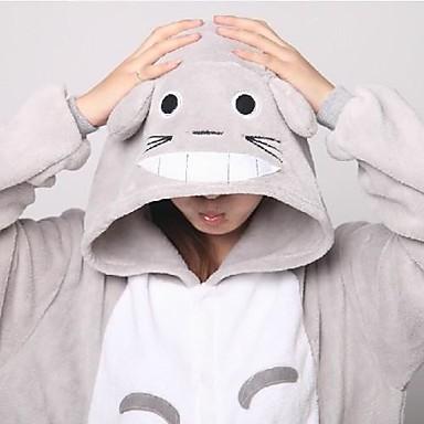 Erwachsene Kigurumi-Pyjamas mit Hausschuhen Katze Totoro Pyjamas-Einteiler Korallenfleece Grau Cosplay Für Herren und Damen Tiernachtwäsche Karikatur Halloween Fest / Feiertage
