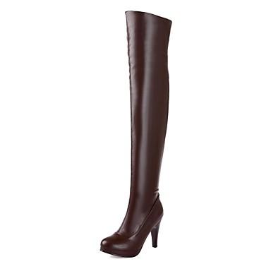 Kunstlæder-Modestøvler-Dame-Sort Brun-Formelt Fritid-Stilethæl