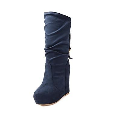 Черный Синий Красный-Женский-Для праздника Повседневный-Замша-На танкетке На платформе-На платформе Модная обувь