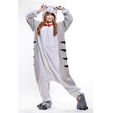 Pijama Kigurumi Pisici Chi-ul lui Sweet Home / Brânză pisică Pijama Întreagă Costume Lână polară Gri Cosplay Pentru Adulți Sleepwear