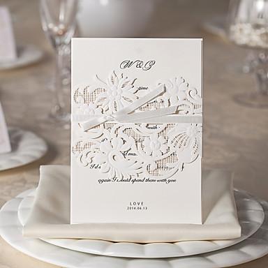 Șal & Buzunar Invitatii de nunta Invitații Stil Floral Hârtie cărți de masă 5