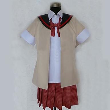 geinspireerd door Cosplay Cosplay Anime Cosplaykostuums Cosplay Kostuums Patchwork Korte mouw Hemd Top Rok Stropdas Voor Dames