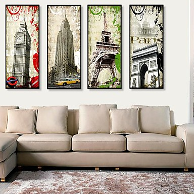 Framed Canvas Framed Set Architecture Wall Art, PVC Material With Frame Home Decoration Frame Art Living Room Bedroom Kitchen Dining Room