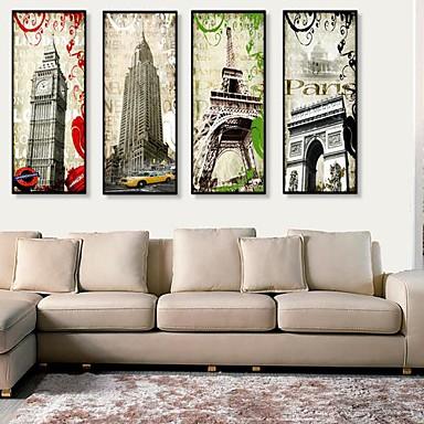 Gerahmtes Leinenbild Gerahmtes Set Architektur Wandkunst, PVC Stoff Mit Feld Haus Dekoration Rand Kunst Wohnzimmer Schlafzimmer Küche