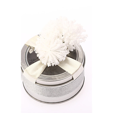abordables Support de Cadeaux pour Invités-Cylindre Acier (nicket plaqué) Titulaire de Faveur avec Ruban / Fleur Boîtes à cadeaux / Cannette de cadeau - 6
