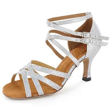 Pentru femei Pantofi Dans Latin Imitație de Piele Sandale Cataramă Toc Personalizat Personalizabili Pantofi de dans Argintiu / Maro / Auriu