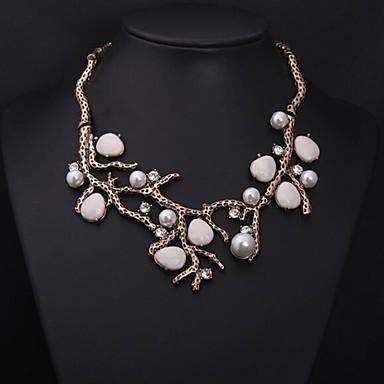 billige Mote Halskjede-Syntetisk Diamant Uttalelse Halskjeder Perlehalskjede Statement Luksus Vintage Fest Syntetiske Edelstener Perle Fuskediamant Hvit Halskjeder Smykker Til