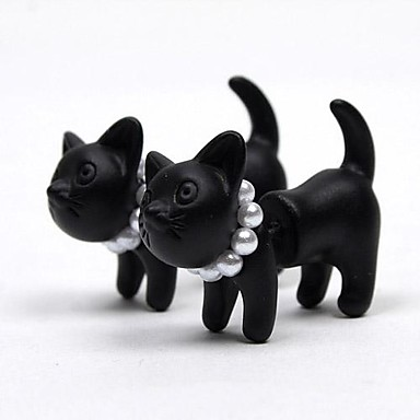 Pentru femei Perle Cercei Stud - Perle Pisici, Animal De Bază, de Mireasă Negru Pentru Nuntă / Petrecere / Zilnic