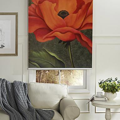 olieverfschilderij stijl realistisch rode bloem rolgordijn
