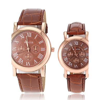 Heren Dames Voor Stel Polshorloge Modieus horloge Vrijetijdshorloge Kwarts Hot Sale PU Band Amulet Zwart Wit Rood Bruin