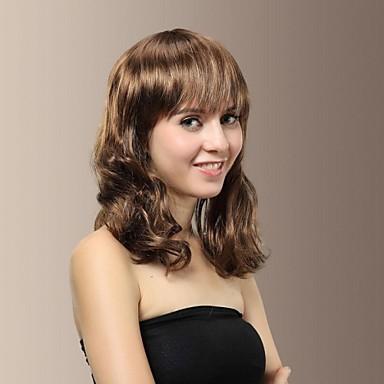 милая леди средней длины волнистые полные челка волос парики