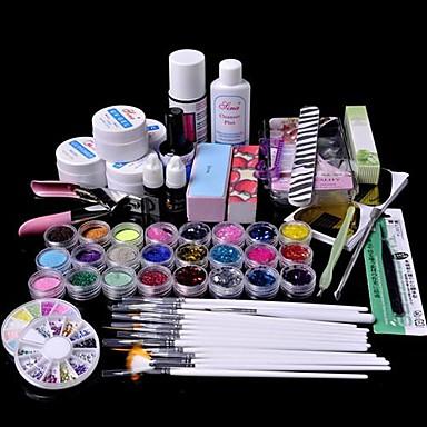 voordelige Nagelgereedschap & Apparatuur-61pcs glitter uv gel cleanser primer nail art kit set
