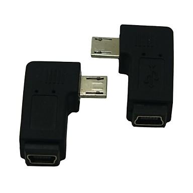 rechts / links gewinkelt 90 Grad Micro-USB-Stecker auf Buchse Verlängerungsadapter conventer