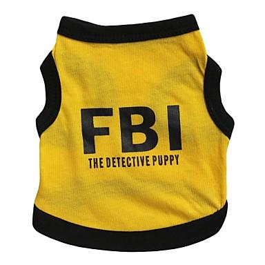 Pisici Câine Tricou Αθλητική μπλούζα Îmbrăcăminte Câini Respirabil Literă & Număr Polițist/Militar Negru/Galben Costume Pentru animale de