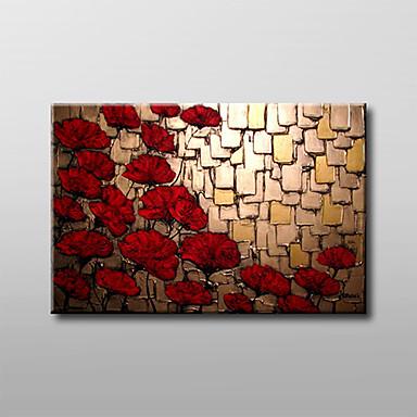 Pintada a mano Floral/BotánicoModern Tradicional Un Panel Lienzos Pintura al óleo pintada a colgar For Decoración hogareña