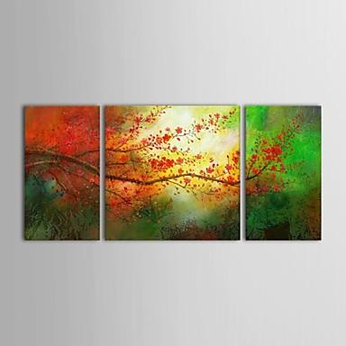 Handgemalte Blumenmuster/Botanisch Quadratisch Segeltuch Hang-Ölgemälde Haus Dekoration Drei Paneele