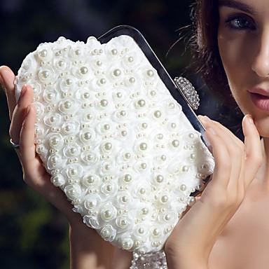 billige Vesker-Dame Imitasjonsperle Satin Aftenveske Krystall