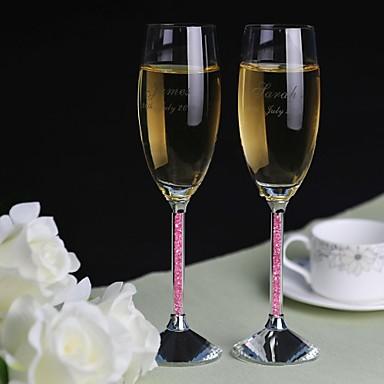 abordables Flûtes à Champagne-Courant grillage ( Cristal ) - Personnalisé - Thème classique
