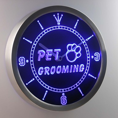 nc0291 hundesalon hund katzen shop leuchtreklame led wand uhr 1983838 2019. Black Bedroom Furniture Sets. Home Design Ideas