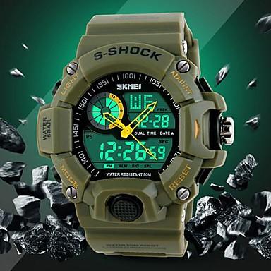 SKMEI Heren Polshorloge Digitaal horloge Kwarts Digitaal Japanse quartz LCD Kalender Chronograaf Waterbestendig Dubbele tijdzones alarm
