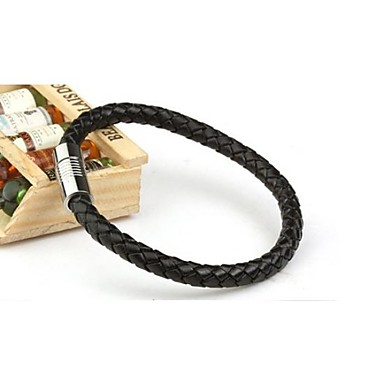Lederarmbänder Magnetisches Armband - Edelstahl, Leder Personalisiert, Modisch Armbänder Schwarz / Braun Für Normal