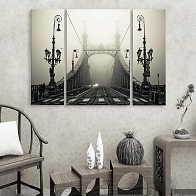Imprimeu pânză întins Set Canava Arhitectură Trei Panouri Orizontal Imprimeu Decor de perete Pagina de decorare