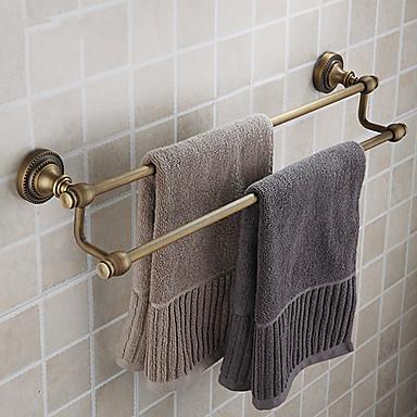 двойной бар полотенце, античная латунь отделка латунь материал, вспомогательное оборудование ванной комнаты