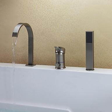 Badewannenarmaturen - Moderne Gebürsteter Nickel Badewanne & Dusche Keramisches Ventil / Einhand Drei Löcher