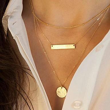 Damen Anhängerketten Vintage Halskette  -  Pailletten Mehrlagig Modisch Geometrische Form Golden Modische Halsketten Für Alltag