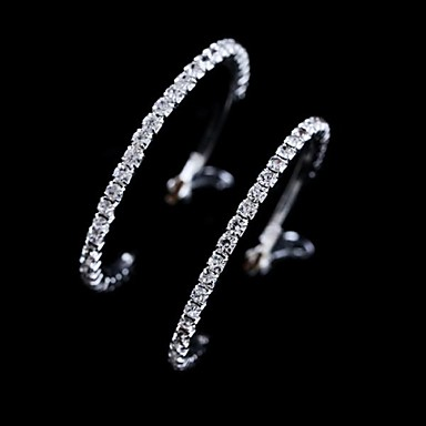Women's Crystal Hoop Earrings - Crystal White For Wedding / Party / Daily