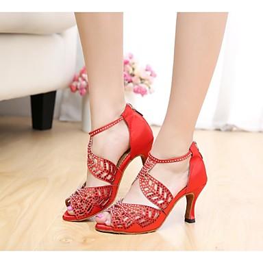 Femme Chaussures Latines / Salon Soie     Strass Talon Bobine Personnalisables Chaussures de danse Nu / Noir / Rouge / Cuir / Cuir b7611d