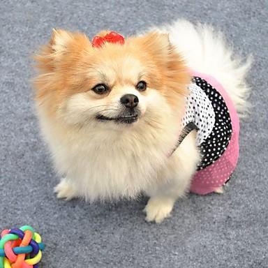 Кошка Собака Платья Одежда для собак Горошек Белый Черный Хлопок Костюм Для домашних животных Косплей Свадьба