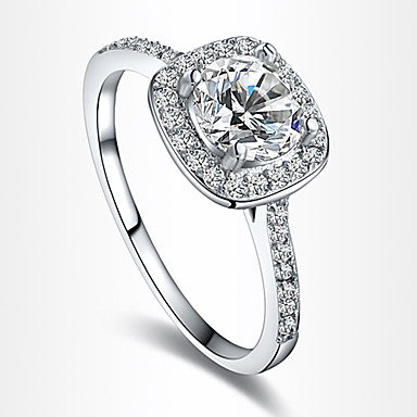 Damen Kubikzirkonia versilbert / vergoldet Verlobungsring / Statement-Ring - Schmuck Liebe / Brautkleidung / Europäisch Gold / Silber /