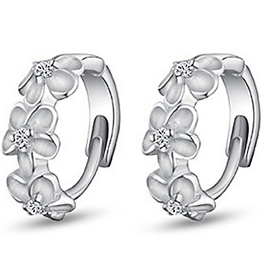 Women's Hoop Earrings Simple Style Fashion Costume Jewelry Sterling Silver Imitation Diamond Flower Jewelry For Daily Casual