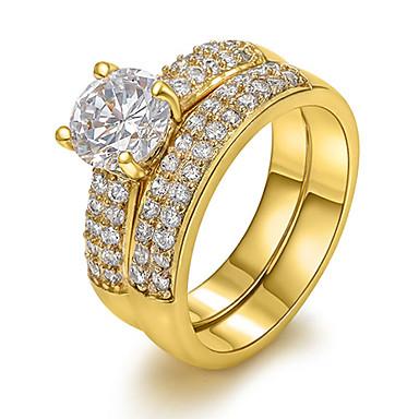 Жен. Заявление Циркон Медь Золото 18K Искусственный бриллиант европейский Для вечеринок Повседневные Бижутерия