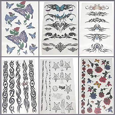 6 Pcs Butterfly and Flower Ring Mixed Temporary Tattoo