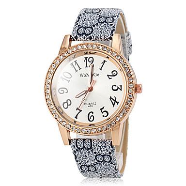 Dames Modieus horloge Kwarts PU Band Bloem Bruin Grijs