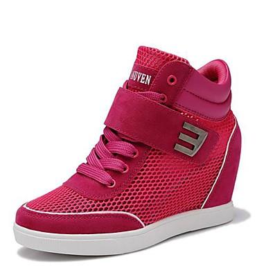 Розовый / Красный / Серый-Женская обувь-На каждый день-Нейлон-На танкетке-На танкетке-Кроссовки