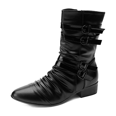 Bărbați Pantofi Imitație Piele Primăvară / Toamnă Confortabili Cizme 25.4-30.48 cm / Cizme Medii Negru