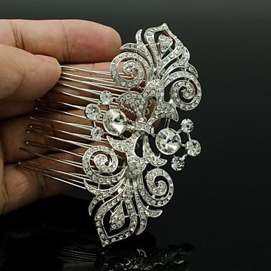 Vrouwen Bloemenmeisje Bergkristal Licht Metaal Helm-Bruiloft Haarkammen