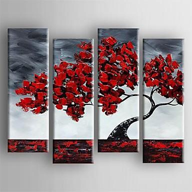Hang-Ölgemälde Handgemalte - Blumenmuster / Botanisch Segeltuch Vier Panele