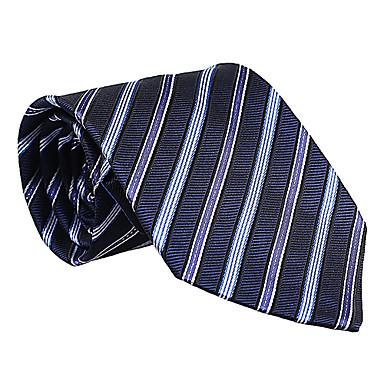 albastru-închis&de culoare albastru deschis cu dungi cravată