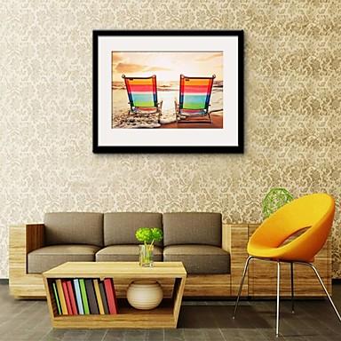 Gerahmtes Leinenbild Gerahmtes Set Landschaft Wandkunst, PVC Stoff Mit Feld Haus Dekoration Rand Kunst Wohnzimmer Schlafzimmer Küche