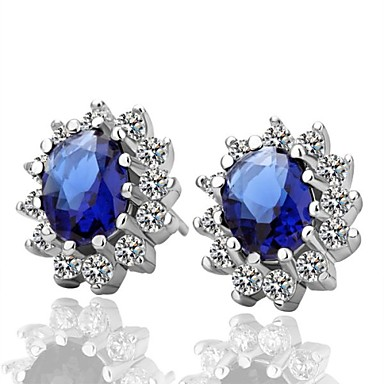 Σκουλαρίκι Κουμπωτά Σκουλαρίκια Κοσμήματα Πάρτι / Καθημερινά Επιμεταλλωμένο με Πλατίνα Μπλε