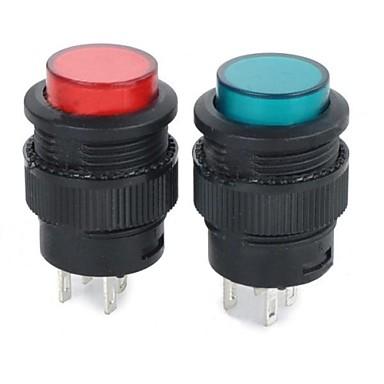 auto-blocare comutator buton w / Indicator luminos - roșu + verde + negru (2 buc)