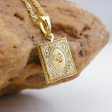 Damen vergoldet Anhänger / Medaillon Halskette - Modisch Golden Quadratisch Anhänger Für Alltag