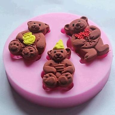 drie beren fondant taart siliconen mal taart decoratie gereedschappen, l7cm * w7cm * h1cm